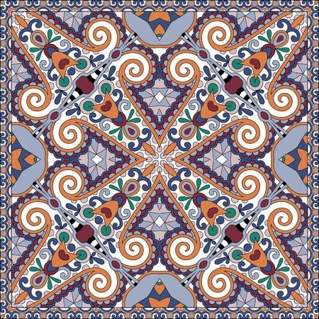 voile: silk neck scarf or kerchief square pattern design in ukrainian karakoko style for print on fabric, vector illustration