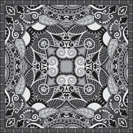 kerchief: Traditional black and white ornamental floral paisley bandanna. Square ornament. You can use this pattern in the design of carpet, shawl, pillow, cushion