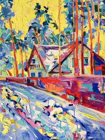 slush: original oil painting on canvas of winter village landscape in Ukraine with yellow sky, modern Impressionism Stock Photo