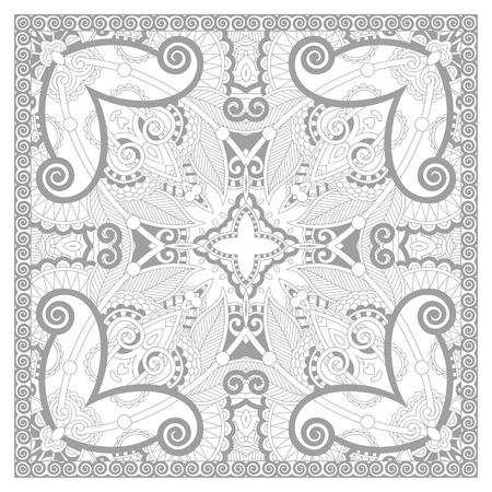 dibujos para colorear: p�gina �nica para colorear libro cuadrado para adultos - dise�o de la alfombra floral, alegr�a para los ni�os mayores y adultos coloristas, que como l�nea de arte y creaci�n, ilustraci�n vectorial Vectores