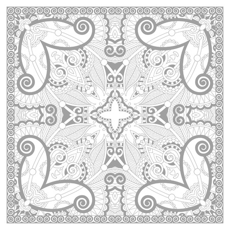 unique coloring book square page for adults - floral carpet design, joy to older children and adult colorists, who like line art and creation, vector illustration