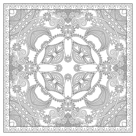 floral carpet: unique coloring book square page for adults - floral carpet design, joy to older children and adult colorists, who like line art and creation, vector illustration