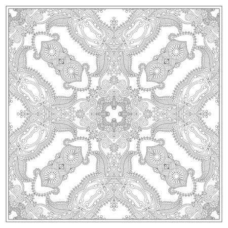 adult: unique coloring book square page for adults - ethnic floral carpet design, joy to older children and adult colorists, who like line art and creation, vector illustration Illustration