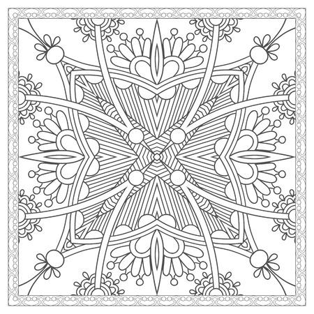 dibujos para colorear: página única para colorear libro cuadrado para adultos - diseño de la alfombra floral étnico, la alegría a los niños más grandes y coloristas para adultos, que les gusta la línea de arte y creación, ilustración vectorial Vectores