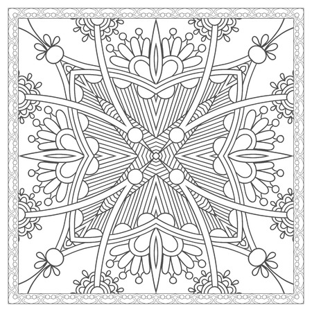 unique coloring book square page for adults - ethnic floral carpet design, joy to older children and adult colorists, who like line art and creation, vector illustration Stock Illustratie