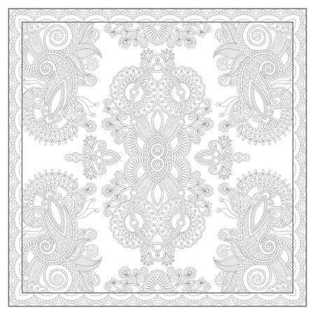 floral carpet: unique coloring book square page for adults - ethnic floral carpet design, joy to older children and adult colorists, who like line art and creation, vector illustration Illustration
