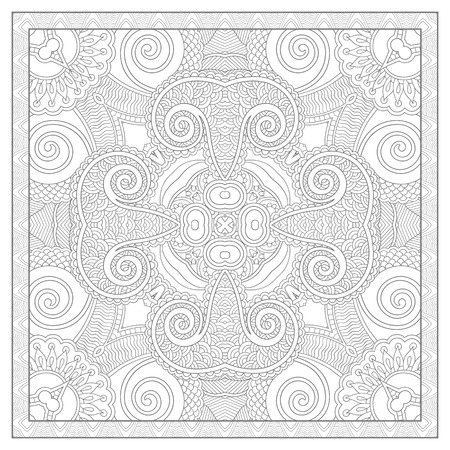unique coloring book square page for adults - floral authentic carpet design, joy to older children and adult colorists, who like line art and creation, vector illustration 版權商用圖片 - 37860207