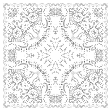 prints: unique coloring book square page for adults - floral authentic carpet design, joy to older children and adult colorists, who like line art and creation, vector illustration