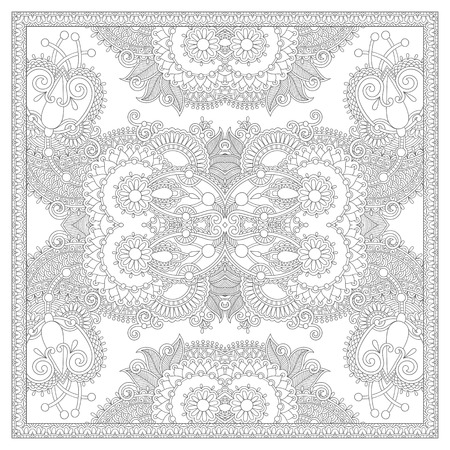 remarkable: unique coloring book square page for adults - floral authentic carpet design, joy to older children and adult colorists, who like line art and creation, vector illustration