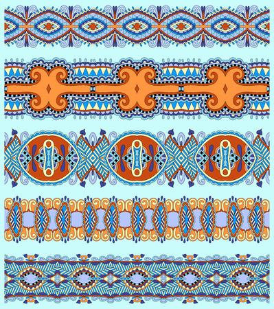 disegni cachemire: senza soluzione di continuit� etnica floreale paisley stripe, set di frontiera, ornamento tribale ucraino per la stampa o il ricamo del nastro, o per la progettazione di polygraphy in colore blu
