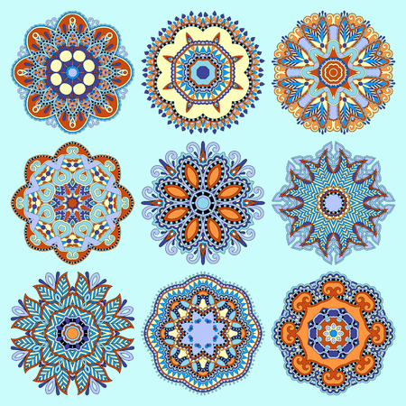 round: Circle lace ornament, round ornamental geometric doily pattern collection. Vector illustration in blue color Illustration