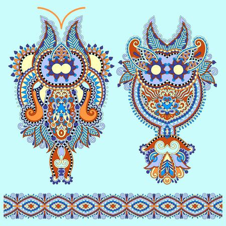 bordados: Escote diseño de moda del bordado Paisley floral adornado, estilo étnico ucraniano. Un buen diseño de la ropa de impresión o camisa. Ilustración vectorial