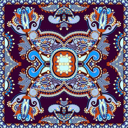 robo: bufanda de seda o patr�n de dise�o cuadrado pa�uelo en estilo karakoko ucraniano para imprimir sobre tela, ilustraci�n vectorial