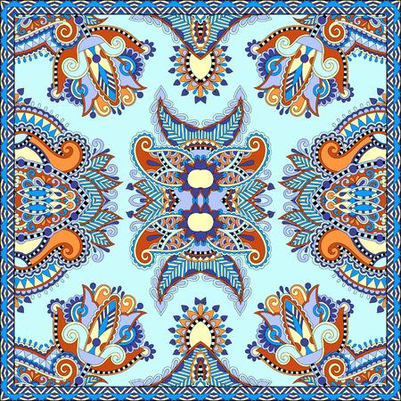 stole: bufanda de seda o patrón de diseño cuadrado pañuelo en estilo karakoko ucraniano para imprimir sobre tela, ilustración vectorial