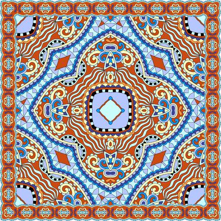 ascot: silk neck scarf or kerchief square pattern design in ukrainian karakoko style for print on fabric, vector illustration