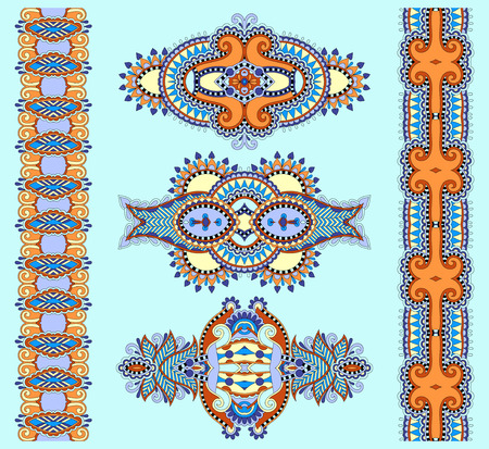 adornment: ornamental ethnic decorative floral adornment, vector illustration in blue color Illustration