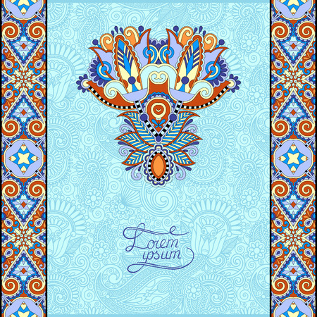 solemn: invitation card with neat ethnic background, royal ornamental design element for menu, packing, web decoration, book cover, brochure and other in blue color