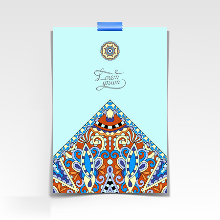 indian yoga: decorative sheet of paper with oriental floral design and place for your text, vector illustration in blue color