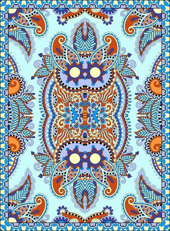 floral carpet: ukrainian floral carpet design for print on canvas or paper, karakoko style ornamental pattern in blue color
