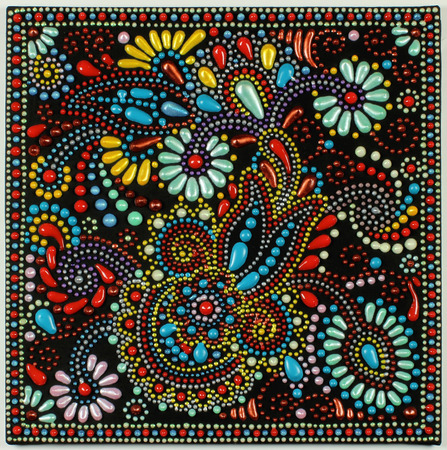 ukrainian traditional art point painting on black background, handmade artwork with decorative flower Stock Photo