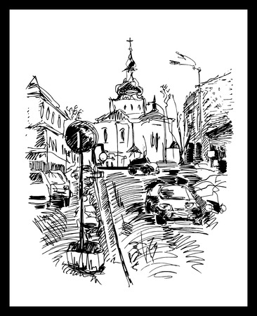 original black and white sketch drawing of Kyiv street, Podol, Ukraine, vector illustration