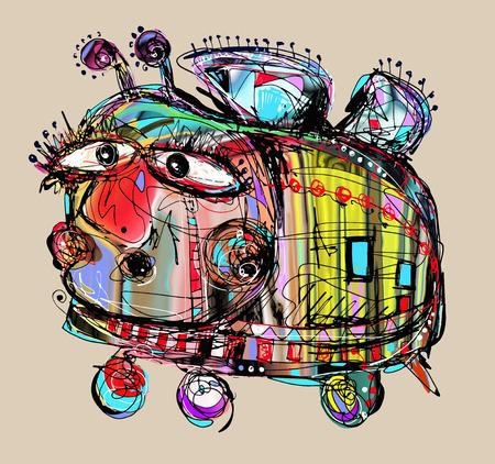 異常な憂鬱と愚かな狂気の蜂、ベクター グラフィックのオリジナルのデジタル絵画