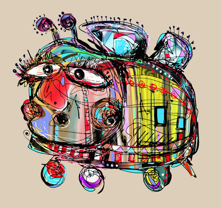 original digital painting of unusual melancholy and stupid crazy bee, vector illustration 일러스트