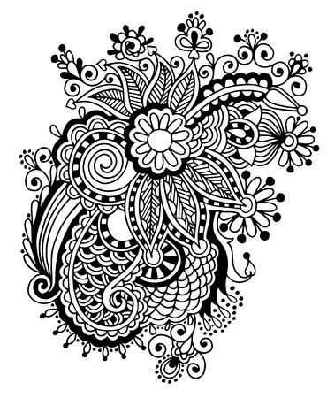 Hand draw black and white line art ornate flower design. Ukrainian traditional style Vector