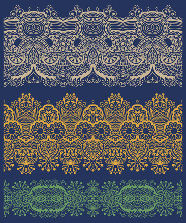 polygraphy: seamless ethnic floral paisley stripe pattern, border set, ukrainian tribal ornament for print or embroidery ribbon, or for the design of polygraphy or web, vector illustration Illustration
