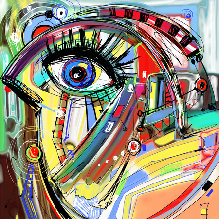 Originale abstrait numérique de peinture d'oiseaux doodle, coloré motif d'impression affiche, illustration vectorielle Banque d'images - 38489415