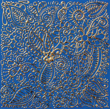 floral carpet: authentic original gold handmade craftwork painting in ukrainian traditional karakoko style, square floral carpet pattern