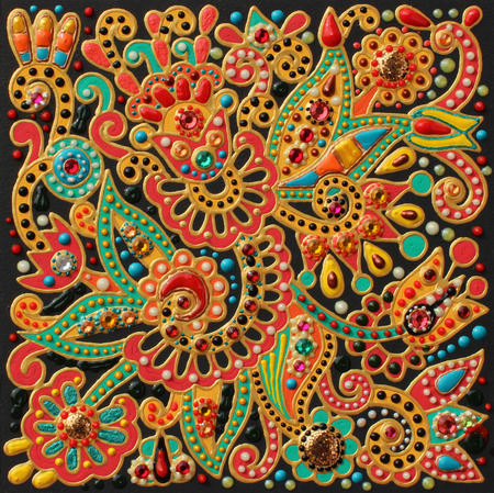 craftwork: authentic original handmade craftwork painting in ukrainian traditional karakoko style, square floral carpet pattern with jewelry stones
