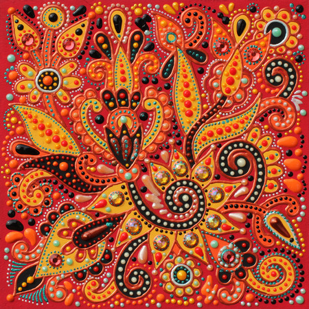 floral carpet: authentic original handmade craftwork painting in ukrainian traditional karakoko style, square floral carpet pattern with jewelry stones