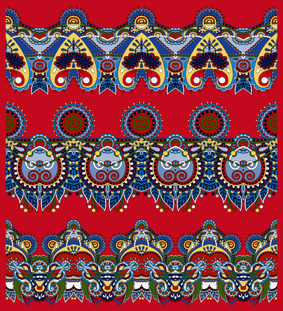 trendy tissue: red seamless ethnic floral paisley stripe pattern, border set, ukrainian tribal ornament for print or embroidery ribbon, or for the design of polygraphy or web Illustration