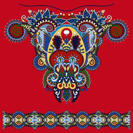 neckline: Neckline ornate floral paisley embroidery fashion design, ukrainian ethnic style. Good design for print clothes or shirt. Vector illustration on red Illustration