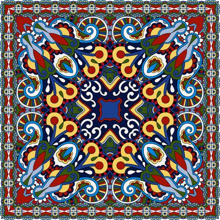 neck scarf: silk neck scarf or kerchief square pattern design in ukrainian karakoko style for print on fabric, vector illustration on red colors Illustration