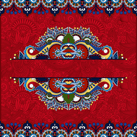 floral red invitation card, vintage paisley frame design, flower divider and page decoration on ornamental background, vector illustration Vector