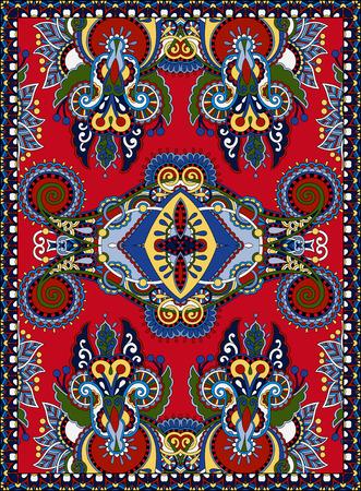 coverlet: ukrainian floral carpet design for print on canvas or paper, karakoko style ornamental pattern, vector illustration on red
