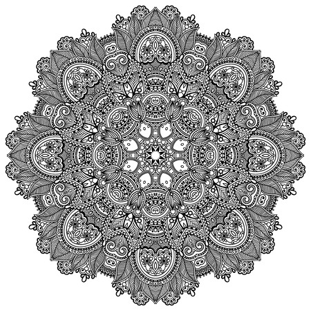 spiritual: mandala, circle decorative spiritual indian symbol of lotus flower, round ornament pattern, black and white vector illustration Illustration