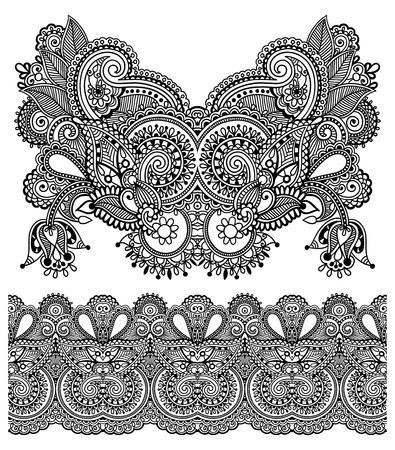 Neckline ornate floral paisley embroidery fashion design, ukrainian ethnic style. Good design for print clothes or shirt. Vector illustration on black color Vector