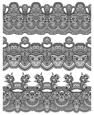 trendy tissue: seamless ethnic floral paisley stripe pattern, border set, Ukrainian tribal ornament for print or embroidery ribbon, or for the design of polygraphy in black, vector illustration