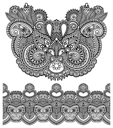 floral paisley: Neckline ornate floral paisley embroidery fashion design, ukrainian ethnic style. Good design for print clothes or shirt. Vector illustration on black color Illustration