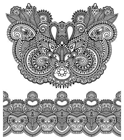 disegni cachemire: Neckline ornato disegno paisley ricami moda floreale, stile etnico ucraino. Un buon design per i vestiti di stampa o camicia. Illustrazione di vettore su colore nero