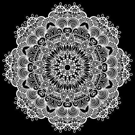 fortune flower: mandala, circle decorative spiritual indian symbol of lotus flower, round ornament pattern, black and white vector illustration Illustration