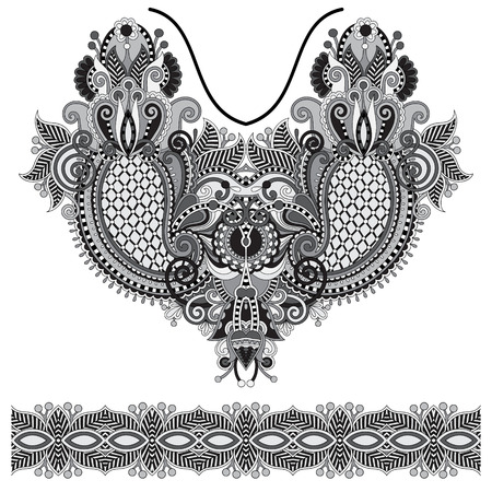 neckline: Neckline grey embroidery fashion, black and white collection