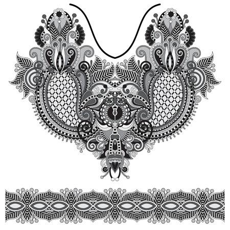neckline: Neckline grey embroidery fashion, black and white collection