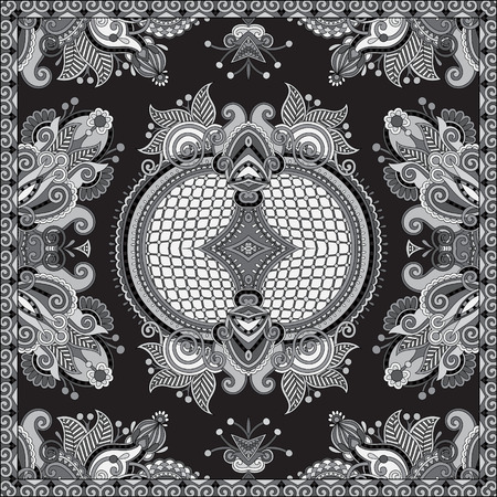 bandanna: grey ornamental floral paisley bandanna. You can use this pattern in the design of carpet, shawl, pillow, cushion, black and white collection Illustration