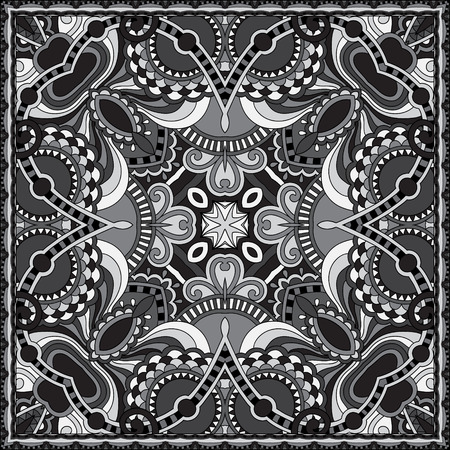 royal black background: grey ornamental floral paisley bandanna. You can use this pattern in the design of carpet, shawl, pillow, cushion, black and white collection Illustration