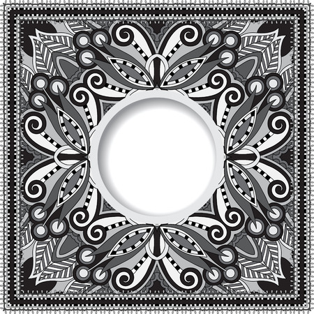 batik motif: grey decorative pattern of ukrainian ethnic carpet design with place for your text, abstract tribal frame border, black and white vector illustration