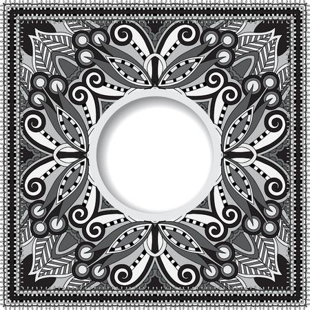 grijs decoratief patroon van Oekraïense etnische tapijt ontwerp met plaats voor uw tekst, abstracte tribale frame grens, zwart en wit vector illustratie